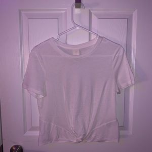 H&M White Twisted Front Top